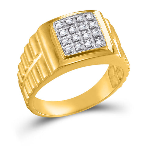 10kt Yellow Gold Mens Round Diamond Square 2-tone Cluster Ring 1/4 Cttw