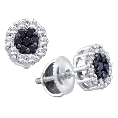 14kt White Gold Womens Round Black Color Enhanced Diamond Flower Cluster Earrings 1-1/2 Cttw