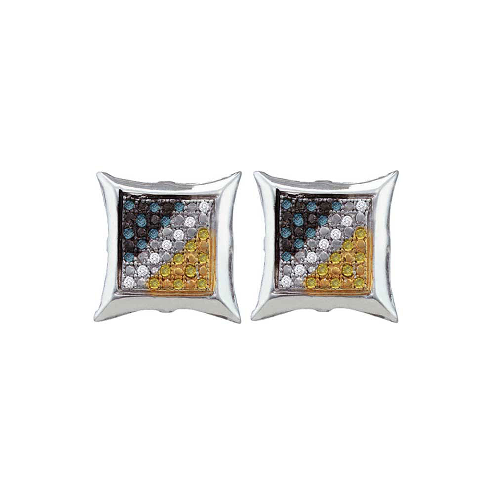 Sterling Silver Mens Round Blue Color Enhanced Diamond Square Earrings 1/6 Cttw