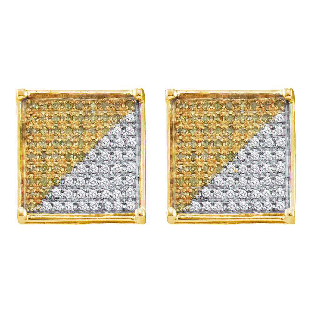 10kt Yellow Gold Mens Round Yellow Color Enhanced Diamond Square Cluster Earrings 1/3 Cttw