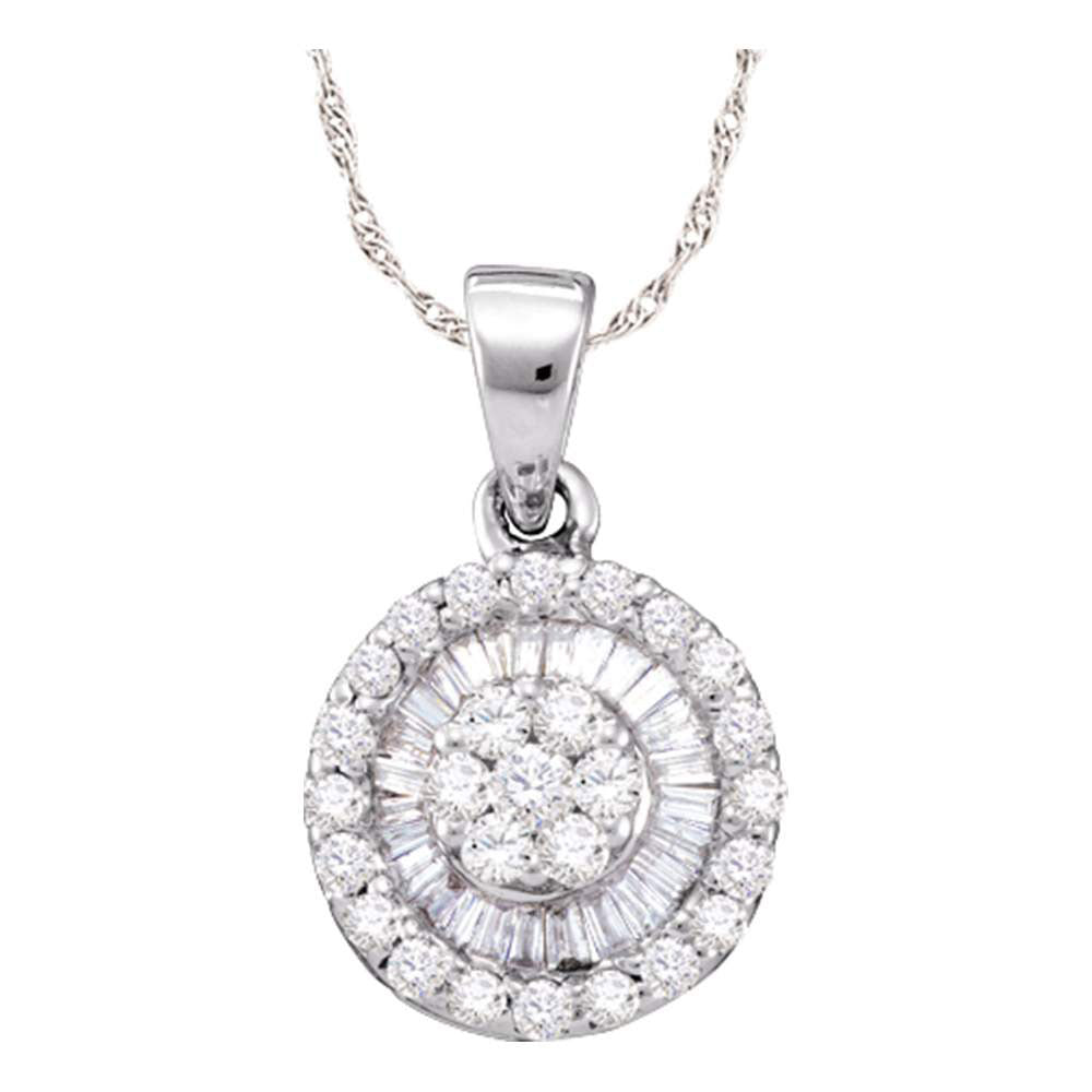 14k White Gold Womens Round Diamond Flower Cluster Circle Pendant 5/8 Cttw