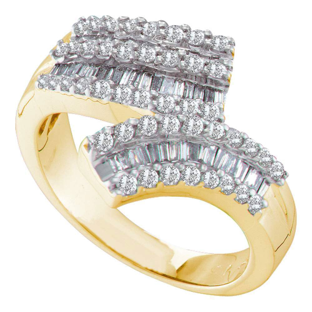 14kt Yellow Gold Womens Round Baguette Diamond Bypass Band 7/8 Cttw