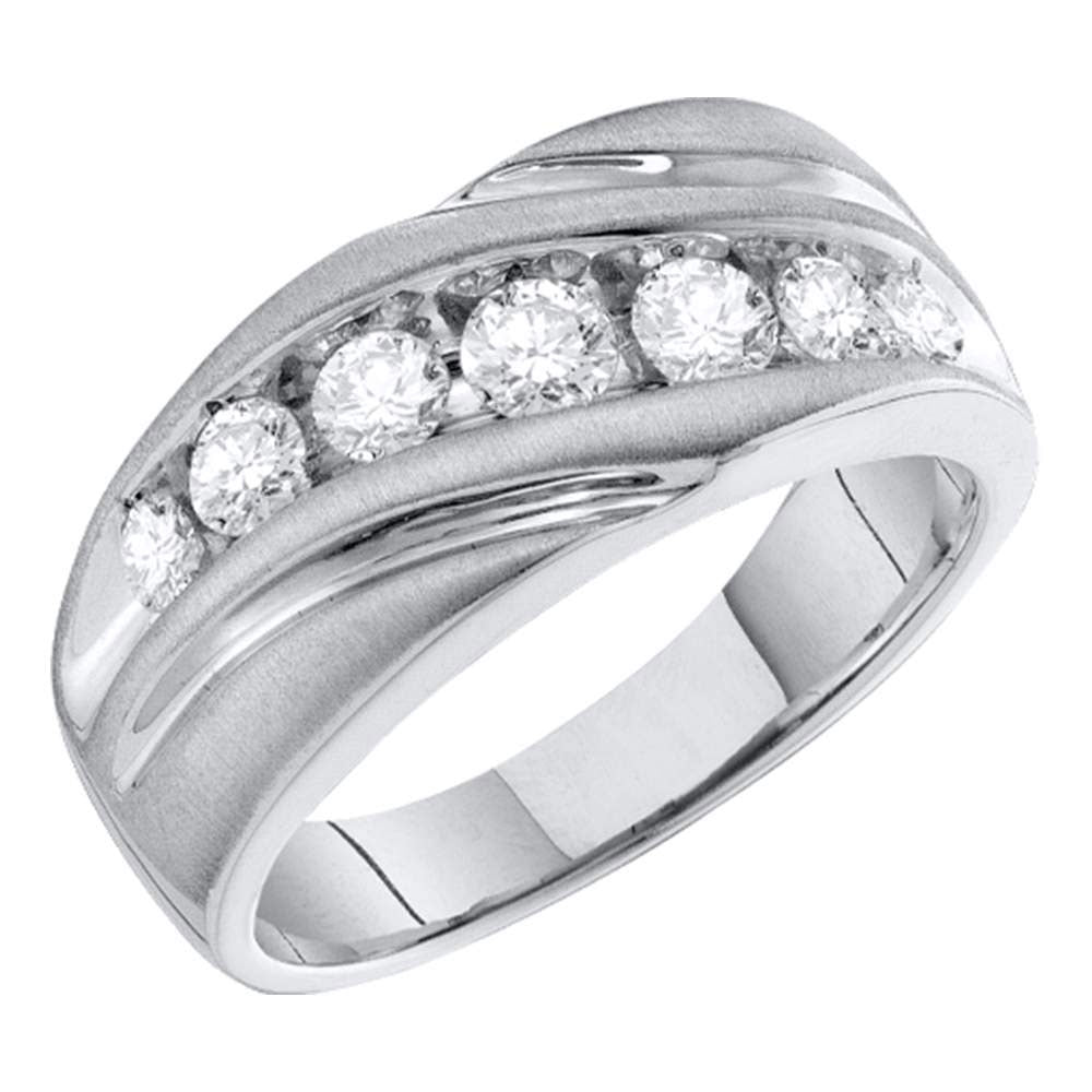 10kt White Gold Mens Round Channel-set Diamond Single Row Wedding Band Ring 1 Cttw
