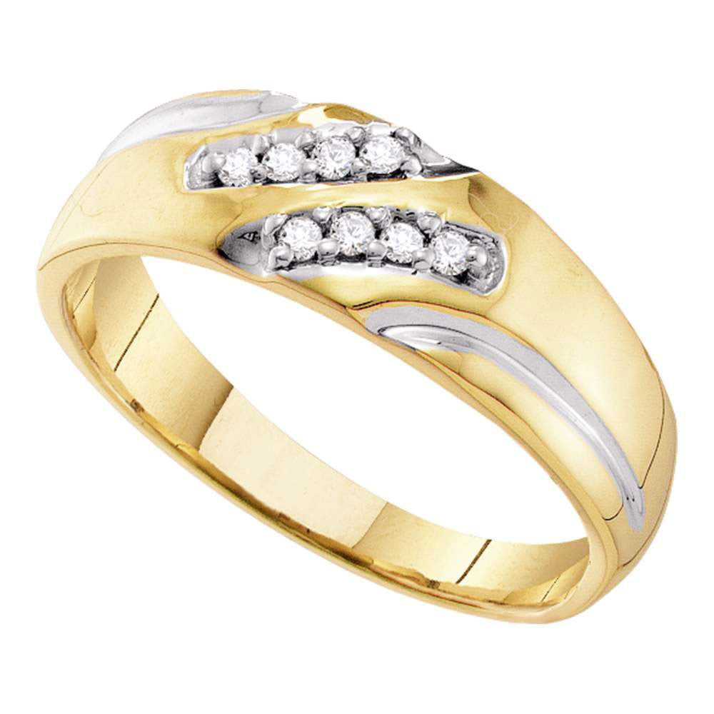 10kt Yellow Gold Mens Round Diamond Two-tone Wedding Band Ring 1/8 Cttw