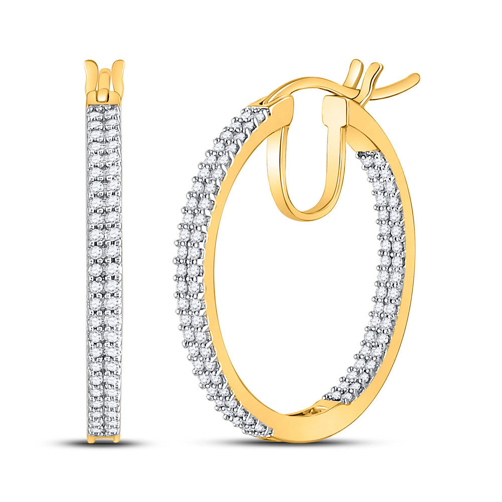 10kt Yellow Gold Womens Round Diamond Inside Outside Hoop Earrings 1/2 Cttw