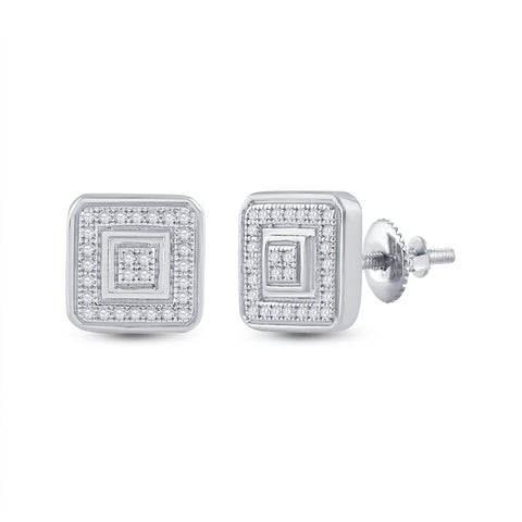 10kt White Gold Womens Round Diamond Square Earrings 1/6 Cttw