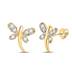 10kt Yellow Gold Womens Round Diamond Dragonfly Butterfly Bug Stud Earrings 1/20 Cttw
