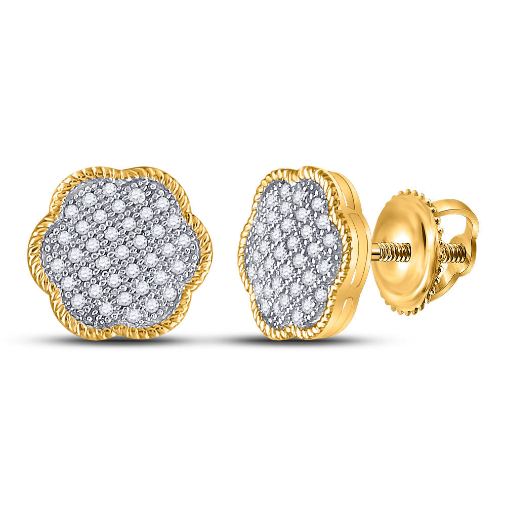 10kt Yellow Gold Womens Round Diamond Cluster Earrings 1/5 Cttw