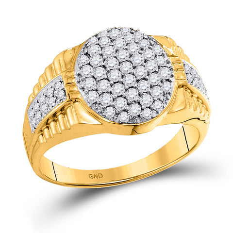 10kt Yellow Gold Mens Round Diamond Oval Cluster Ring 1 Cttw