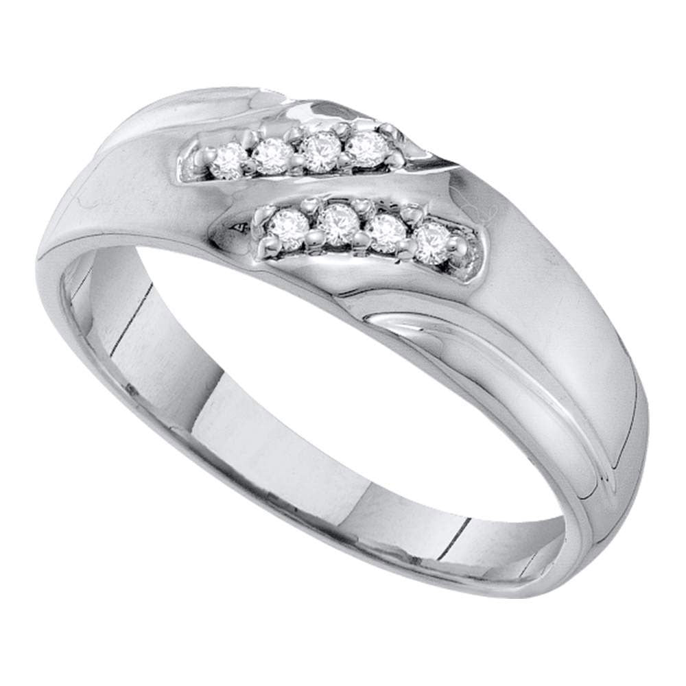 10kt White Gold Mens Round Diamond Wedding Band Ring 1/8 Cttw