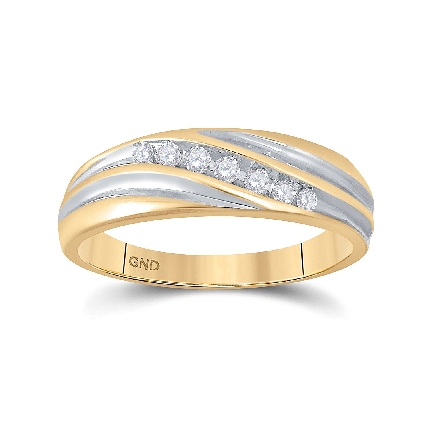 10kt Two-tone Gold Mens Round Diamond Wedding Band Ring 1/6 Cttw
