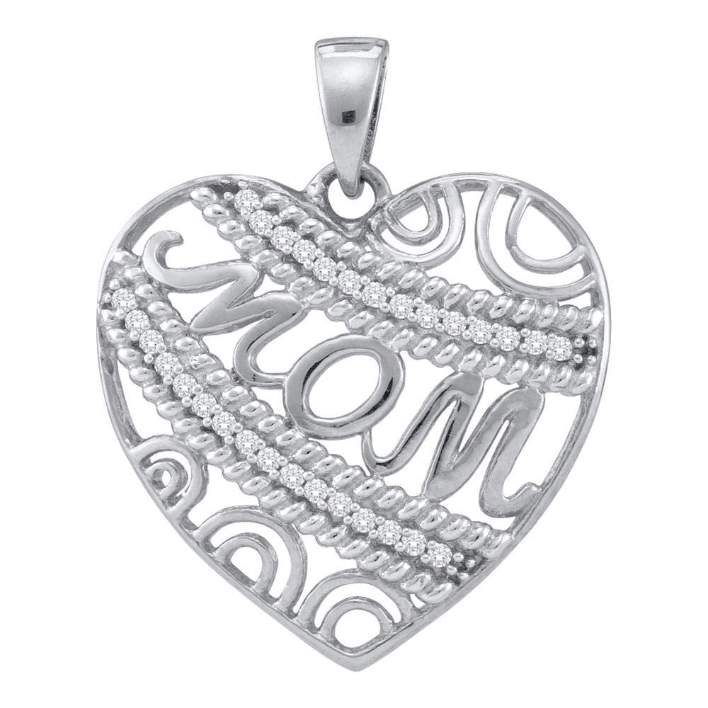 10kt White Gold Womens Round Diamond Mom Mother Pendant 1/10 Cttw