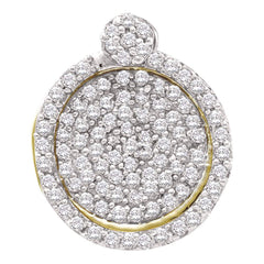 10kt Yellow Gold Womens Round Pave-set Diamond Circle Frame Cluster Pendant 1/3 Cttw