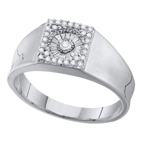 14kt White Gold Mens Round Diamond Square Cluster Ring 1/4 Cttw