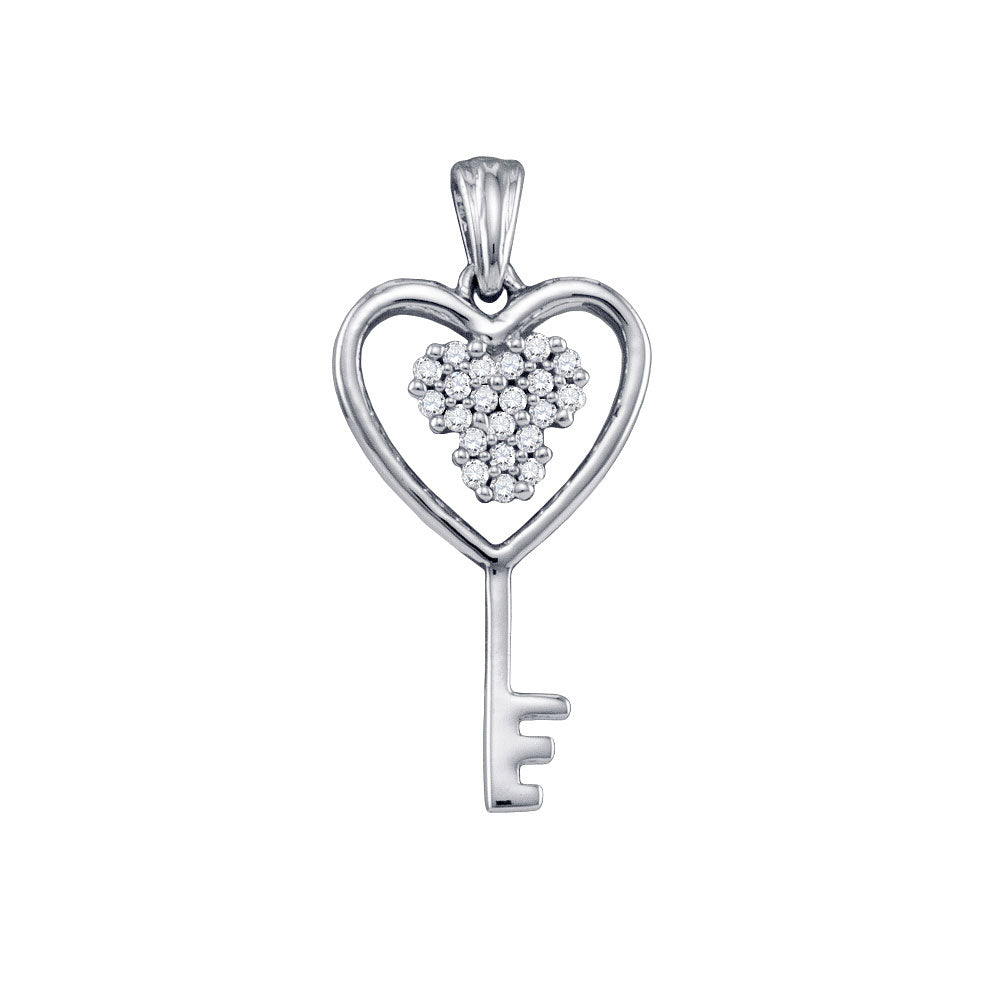 10kt White Gold Womens Round Diamond Cluster Key Heart Pendant 1/12 Cttw