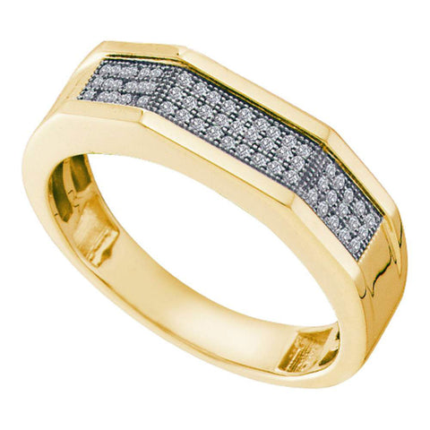 10kt Yellow Gold Mens Round Diamond Faceted Pave Band Ring 1/5 Cttw