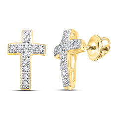 Yellow-tone Sterling Silver Womens Round Diamond Cross Earrings 1/10 Cttw