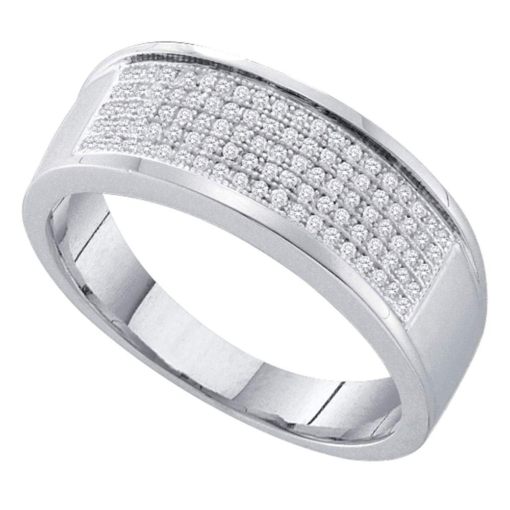 Sterling Silver Mens Round Diamond Band Ring 1/3 Cttw