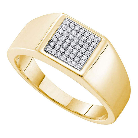Yellow-tone Sterling Silver Mens Round Diamond Square Cluster Ring 1/6 Cttw