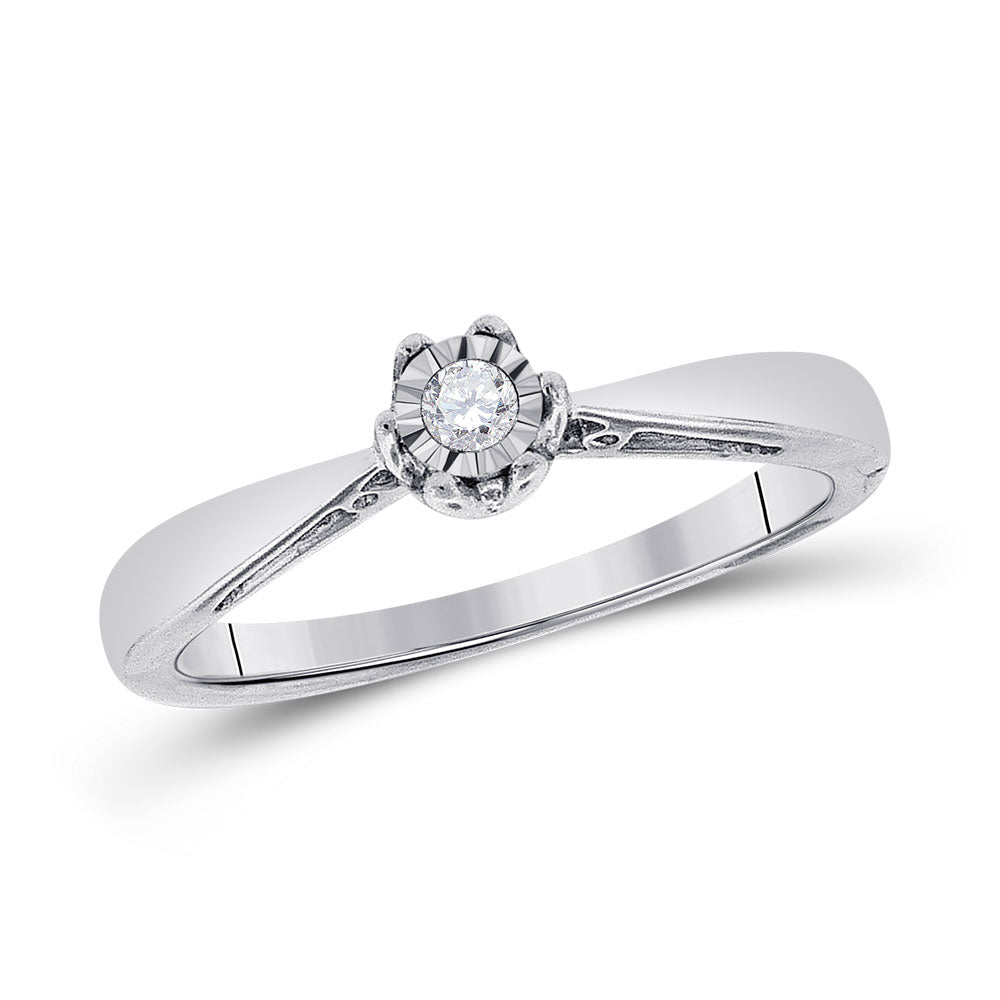 Sterling Silver Round Diamond Solitaire Bridal Wedding Engagement Ring 1/20 Cttw