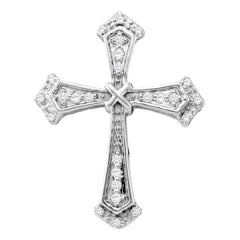 10kt White Gold Womens Round Diamond Flared Cross Pendant 1/10 Cttw