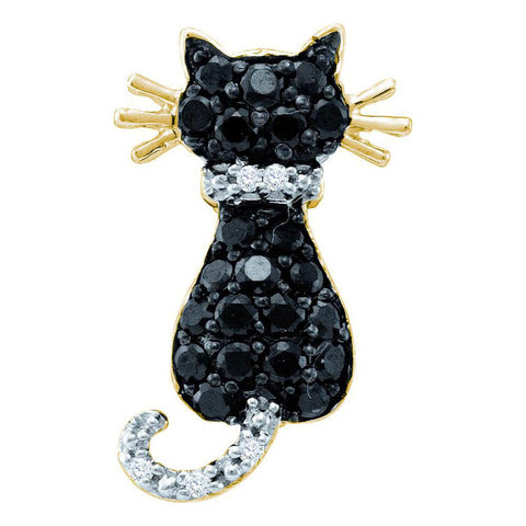 10kt Yellow Gold Womens Round Black Color Enhanced Diamond Kitty Cat Feline Pendant 1/3 Cttw