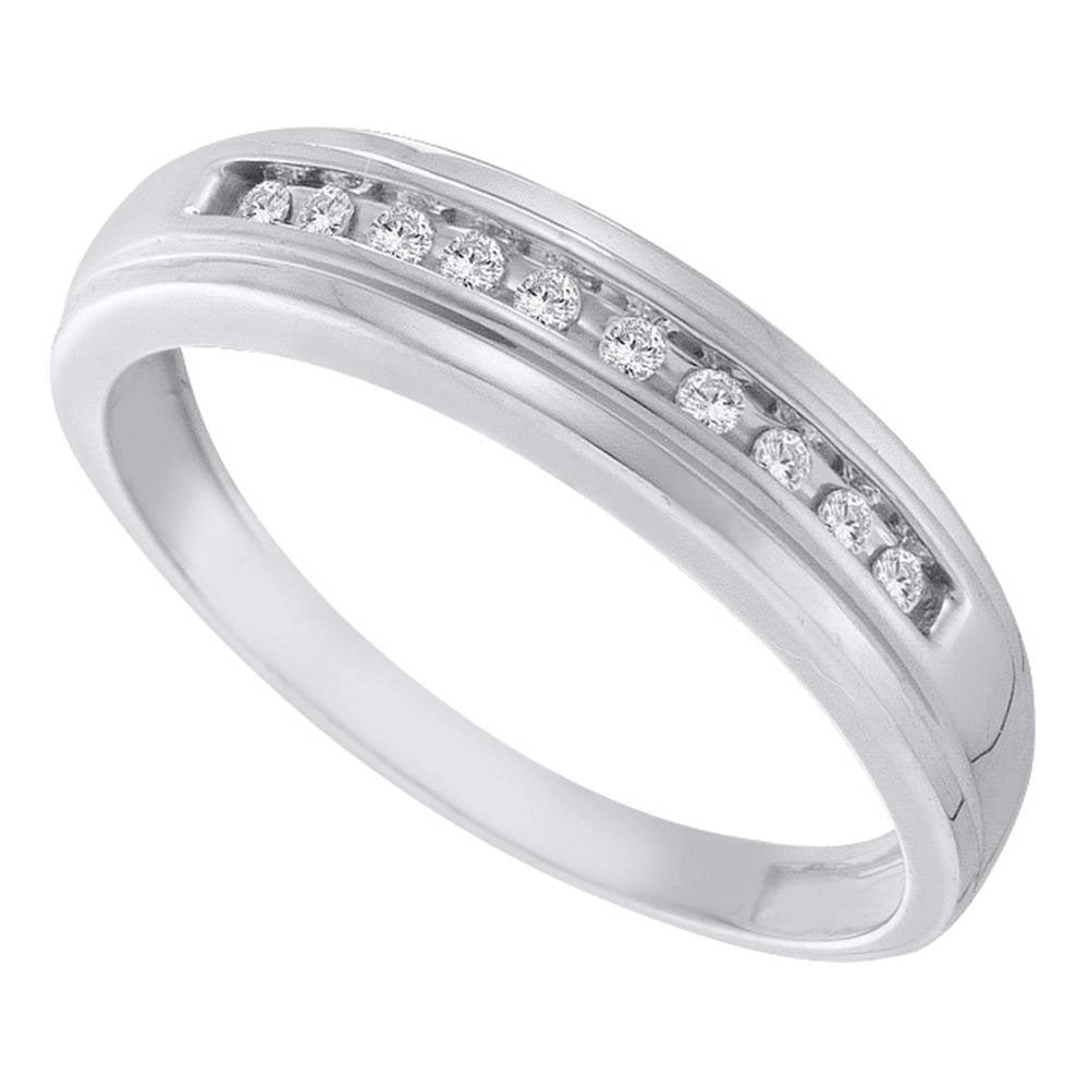10kt White Gold Mens Round Channel-set Diamond Single Row Wedding Band 1/8 Cttw