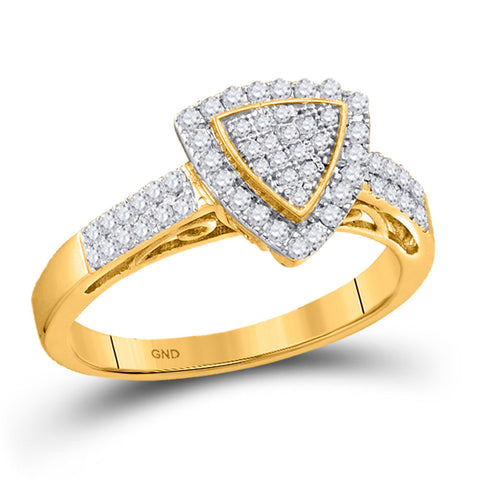 10kt Yellow Gold Womens Round Diamond Triangle Cluster Ring 1/3 Cttw