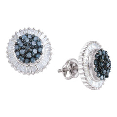 10kt White Gold Womens Round Blue Color Enhanced Diamond Cluster Earrings 1 Cttw