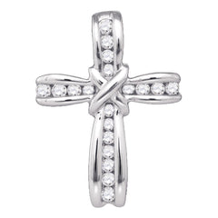 10kt White Gold Womens Round Diamond Bound Cross Pendant 1/5 Cttw