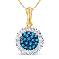 10kt Yellow Gold Womens Round Blue Color Enhanced Diamond Cluster Pendant 1/2 Cttw