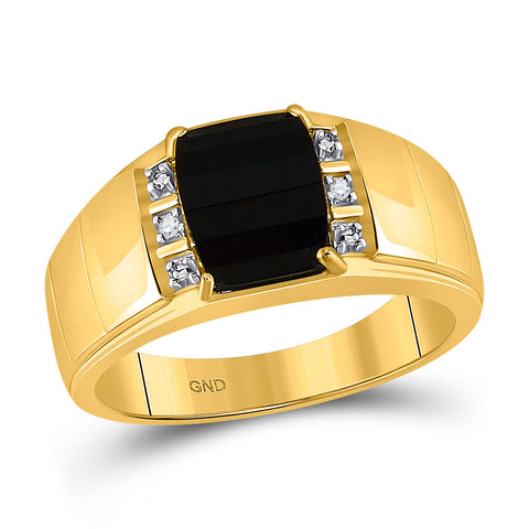 10kt Yellow Gold Mens Round Diamond Black Onyx Solitaire Ring .02 Cttw