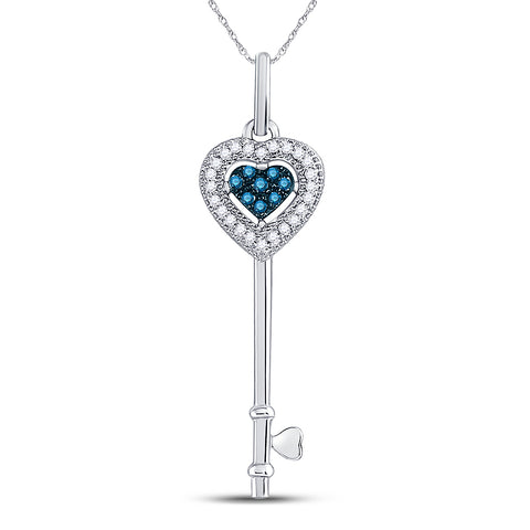10kt White Gold Womens Round Blue Color Enhanced Diamond Key Love Pendant 1/10 Cttw