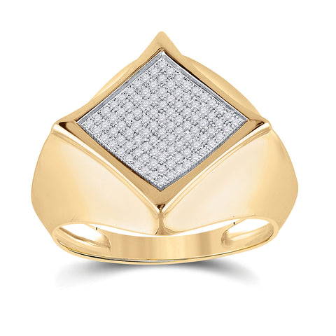 10kt Yellow Gold Mens Round Diamond Offset Square Ring 1/3 Cttw