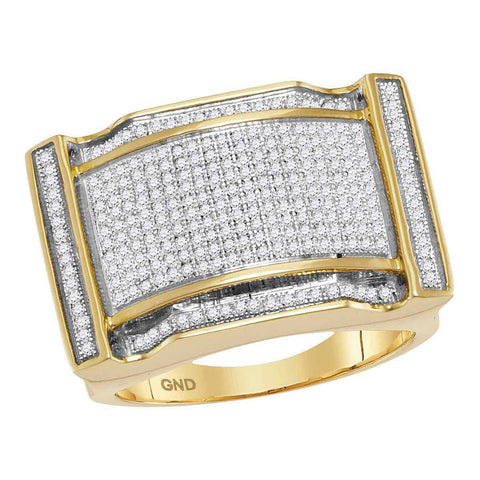10kt Yellow Gold Mens Round Diamond Arched Rectangle Cluster Ring 3/4 Cttw