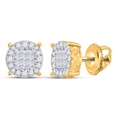 14kt Yellow Gold Womens Princess Diamond Fashion Cluster Earrings 1/2 Cttw