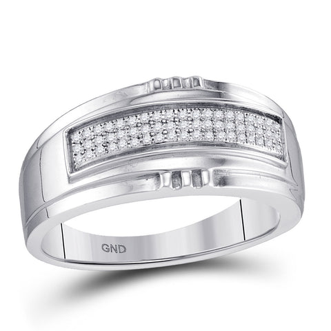 10kt White Gold Mens Round Diamond Band Ring 1/6 Cttw