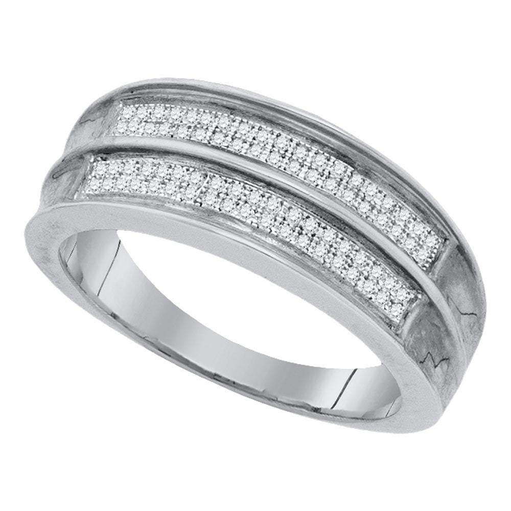 Sterling Silver Mens Round Diamond Wedding Band Ring 1/5 Cttw