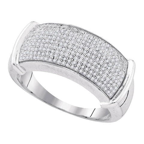Sterling Silver Mens Round Diamond Band Ring 1/2 Cttw