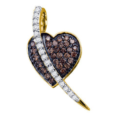 10kt Yellow Gold Womens Round Brown Diamond Heart Pendant 1/2 Cttw