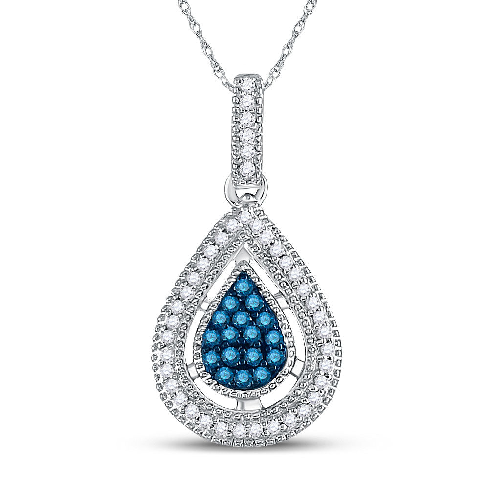 14kt Yellow Gold Womens Round Blue Color Enhanced Diamond Teardrop Cluster Pendant 1/5 Cttw