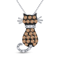10kt White Gold Womens Round Brown Diamond Kitty Cat Animal Pendant 1/3 Cttw
