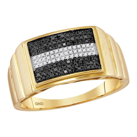 10kt Yellow Gold Mens Round Black Color Enhanced Diamond Stripe Cluster Ring 1/4 Cttw