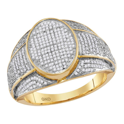 10kt Yellow Gold Mens Round Diamond Oval Cluster Ring 3/4 Cttw