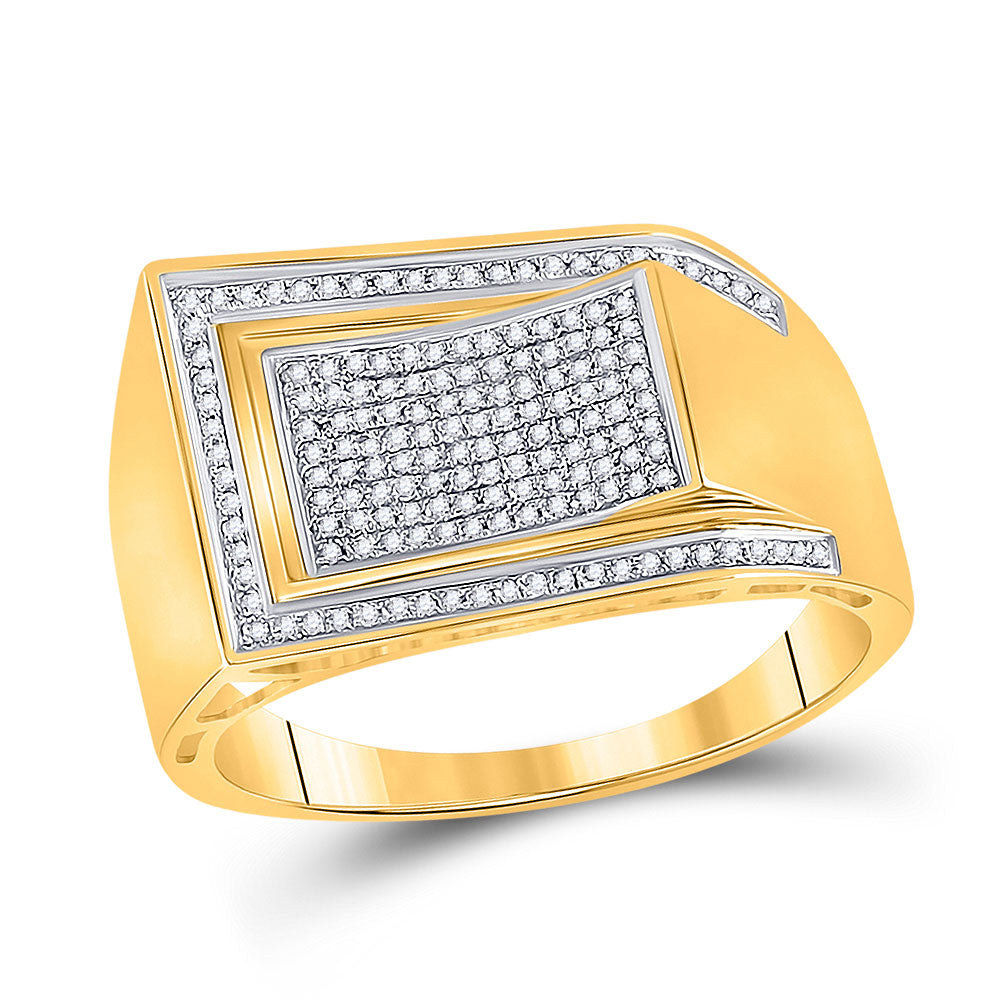 10kt Yellow Gold Mens Round Diamond Arched Rectangle Cluster Ring 1/3 Cttw