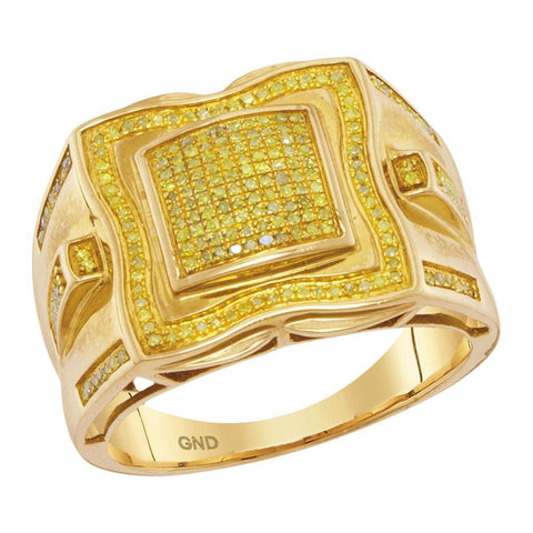 10kt Yellow Gold Mens Round Yellow Color Enhanced Diamond Cluster Ring 3/8 Cttw