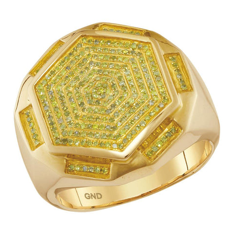 10kt Yellow Gold Mens Round Yellow Color Enhanced Diamond Hexagon Cluster Ring 1/2 Cttw