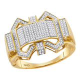 10kt Yellow Gold Mens Round Diamond Symmetrical Fashion Ring 3/8 Cttw