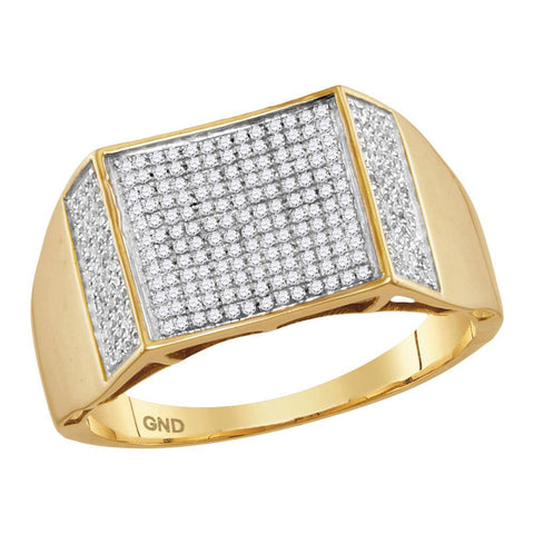 10kt Yellow Gold Mens Round Diamond Pave Square Cluster Ring 3/8 Cttw