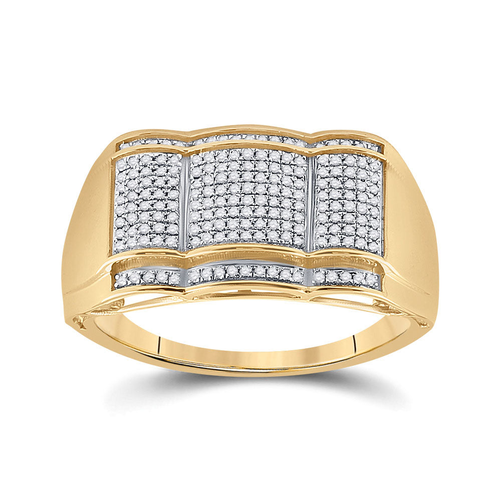 10kt Yellow Gold Mens Round Diamond Fashion Ring 1/3 Cttw